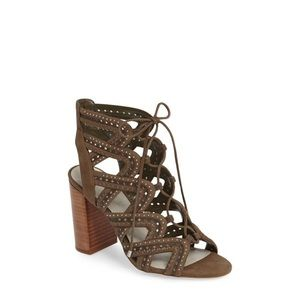 1. State green suede kayley lace up caged heels